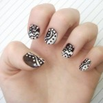 черно белый маникюр для коротких ногтей