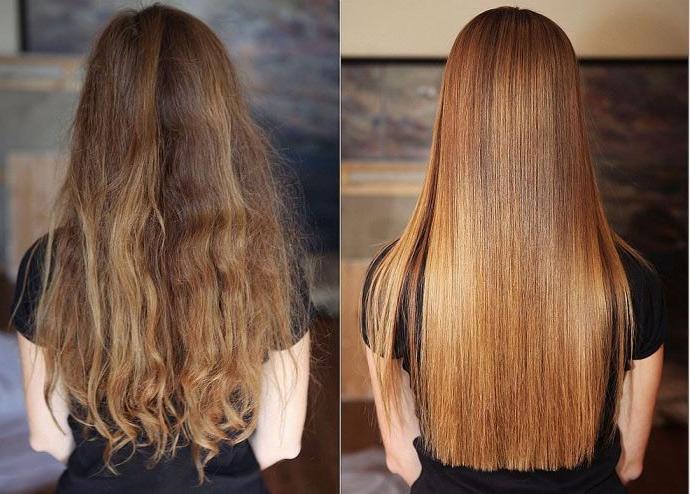 волосы до и после глянцевания