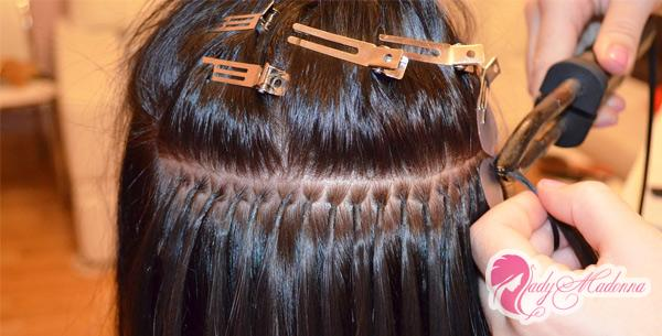 фото наращивание волос горячее