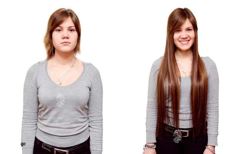фото результата наращивания на короткие волосы