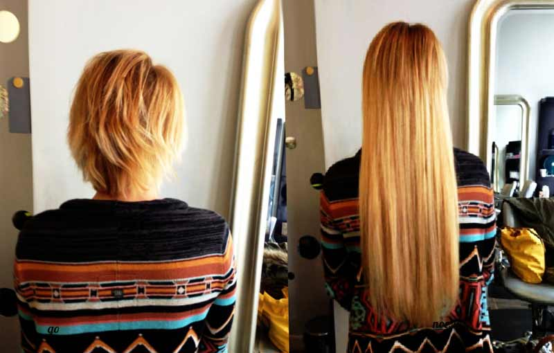 наращивание на очень короткие волосы