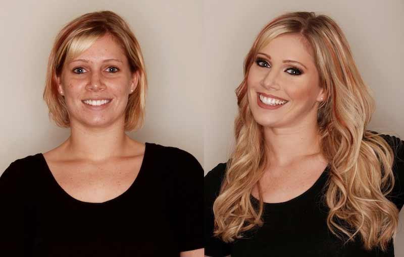 наращивание на средние волосы блондинке