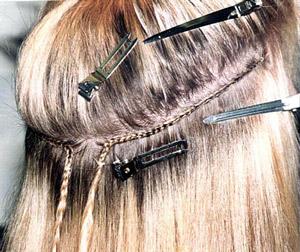 пример наращивания волос методом пришивания тресса
