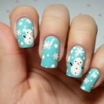 новогодний маникюр снеговик
