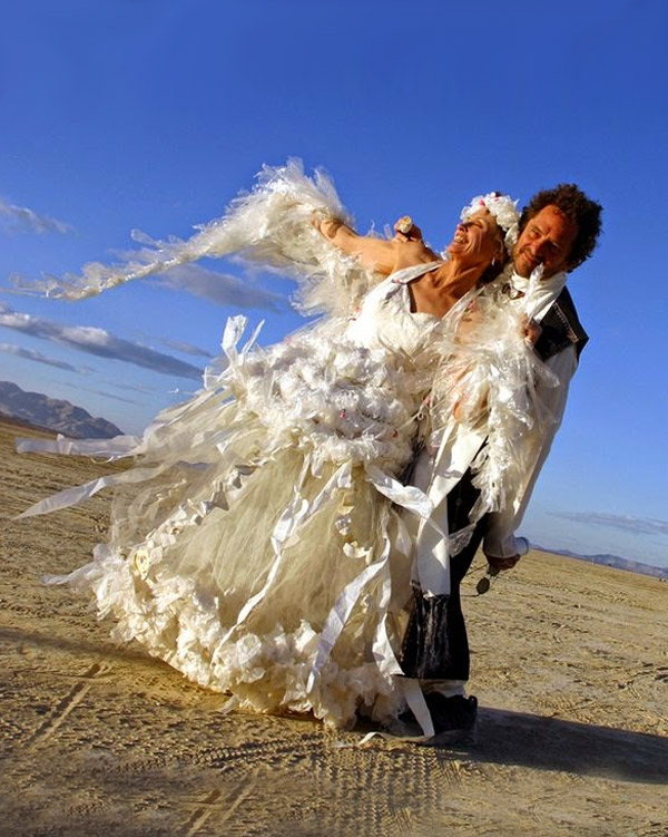 Plastic made wedding dress