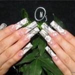 свадебный маникюр на наращенные ногти
