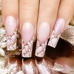 свадебный маникюр на квадратные ногти