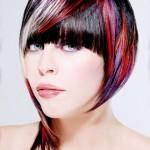 цветное колорирование на короткие волосы