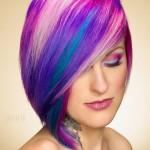 цветное колорирование омбре на средние волосы