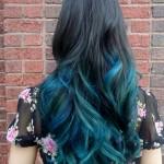 цветное колорирование омбре на темные волосы
