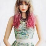 цветное колорирование омбре на светлые волосы