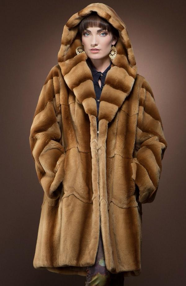 зимняя модная норковая шубка