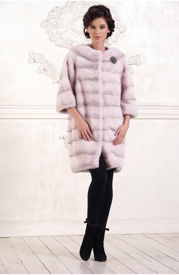 розовая норковая шубка