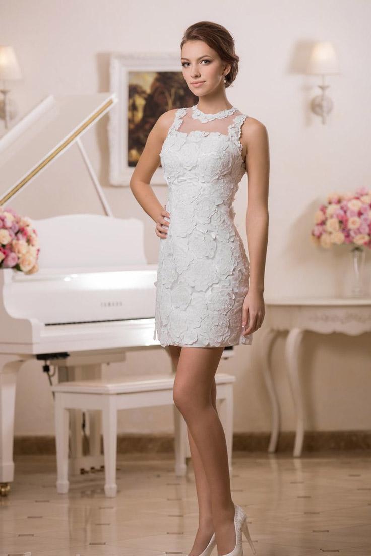 укороченное свадебное платье с кружевами