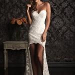 короткое платье с длинным шлейфом