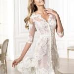 полупрозрачное короткое свадебное платье
