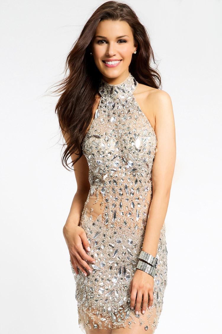 дешевое коктейльное платье с кристалами
