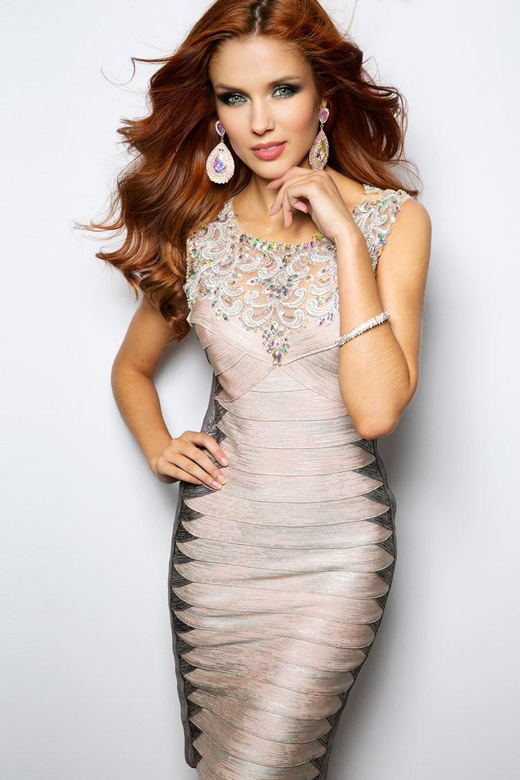 дорогое коктейльное платье с кристаллами