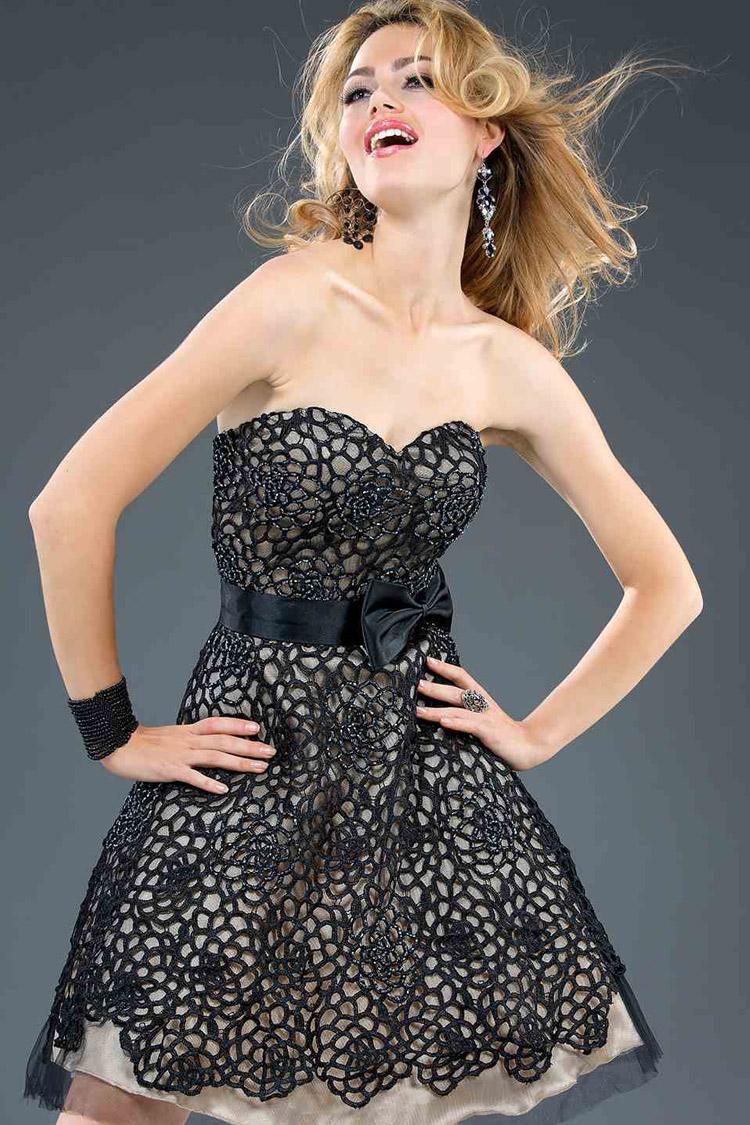 черное коктейльное платье Jovani