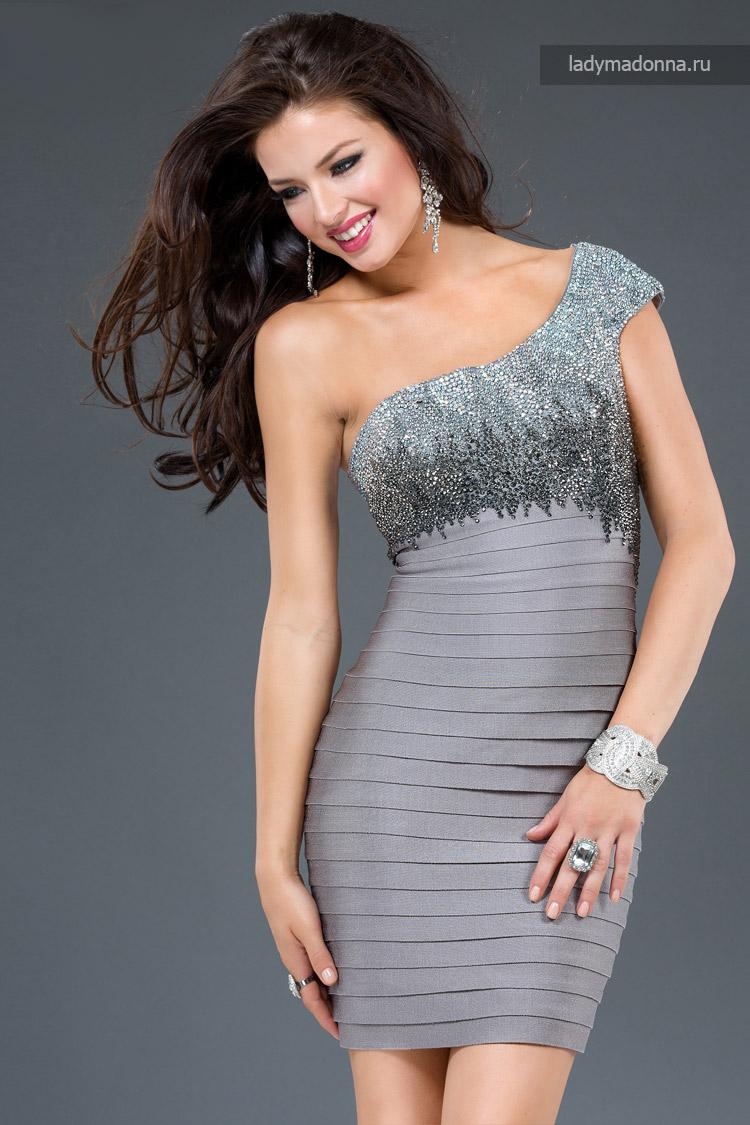 дорогое короткое коктейльное платье с серебром