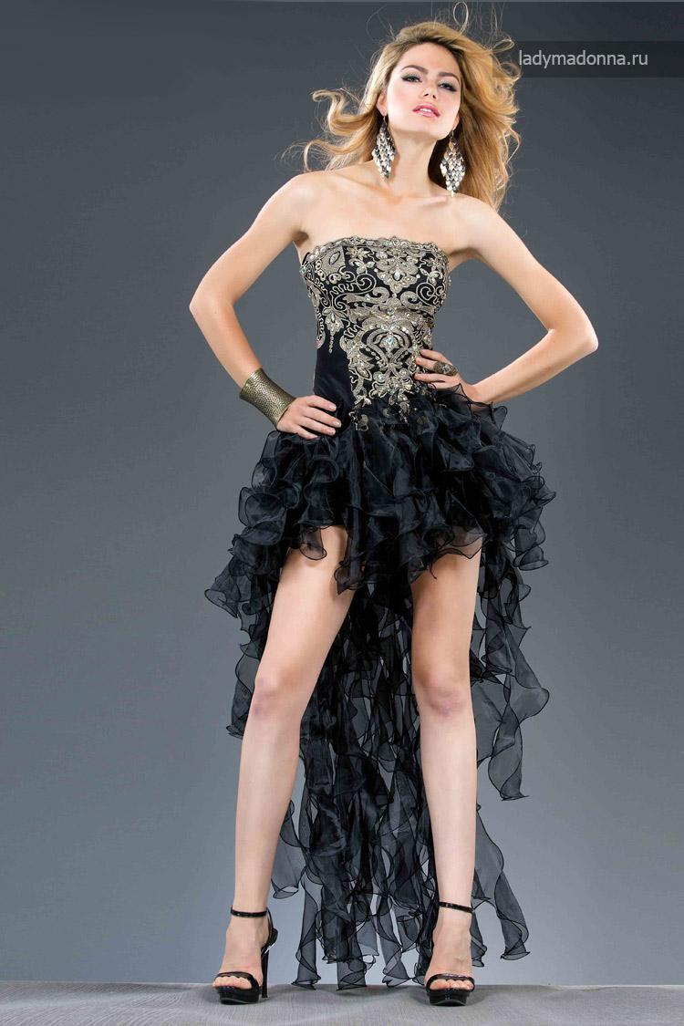 коктейльное платье с длинным шлейфом