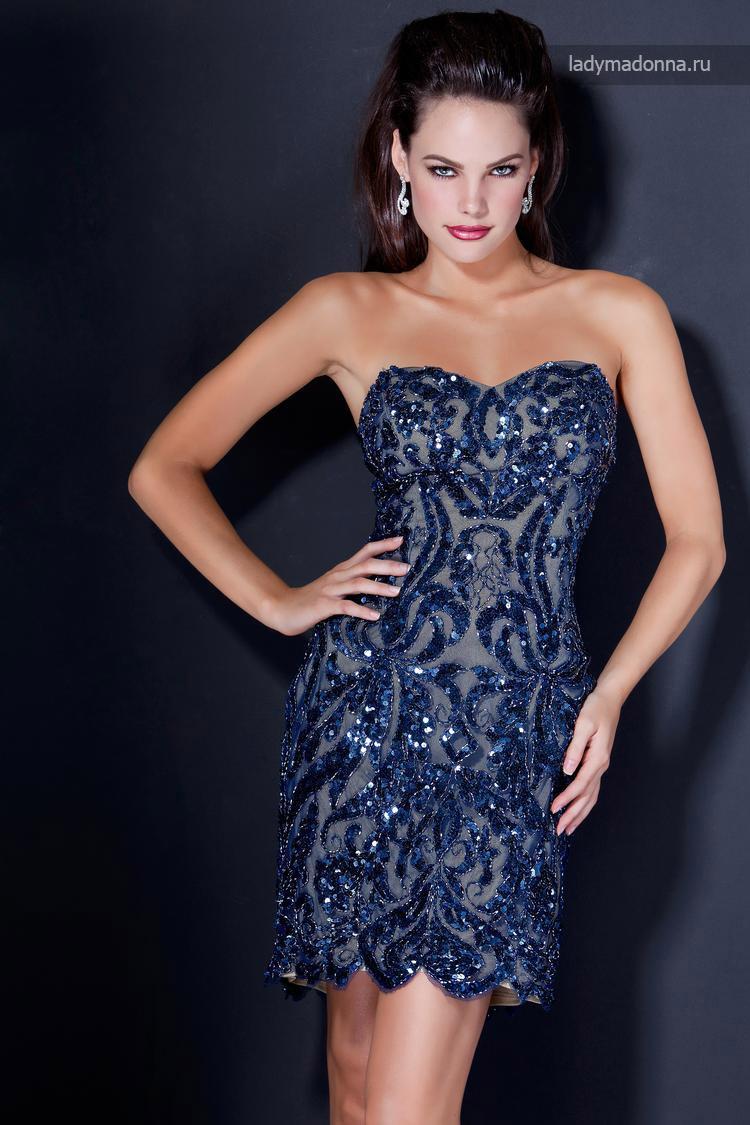 синие короткое коктейльное платье с кристалами