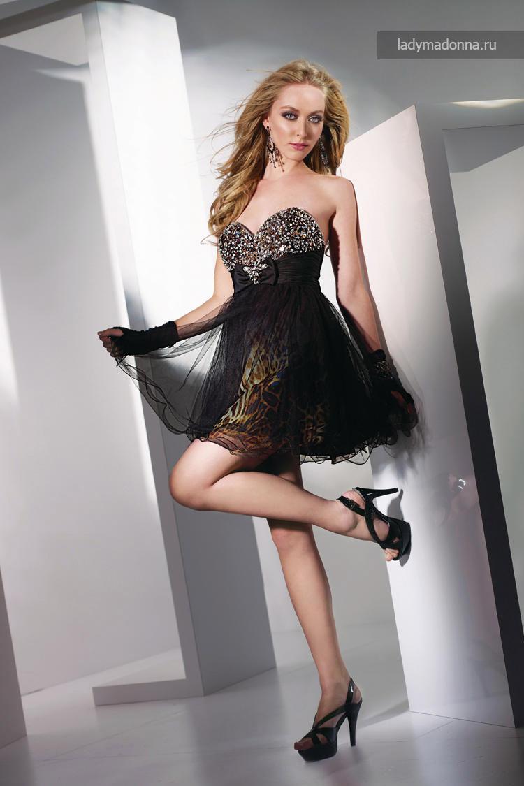 черное клубное коктейльное платье