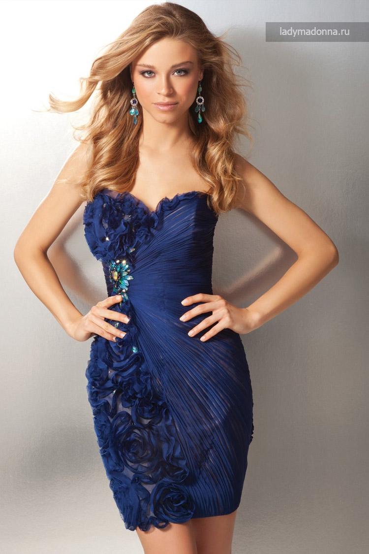 синие клубное коктейльное платье