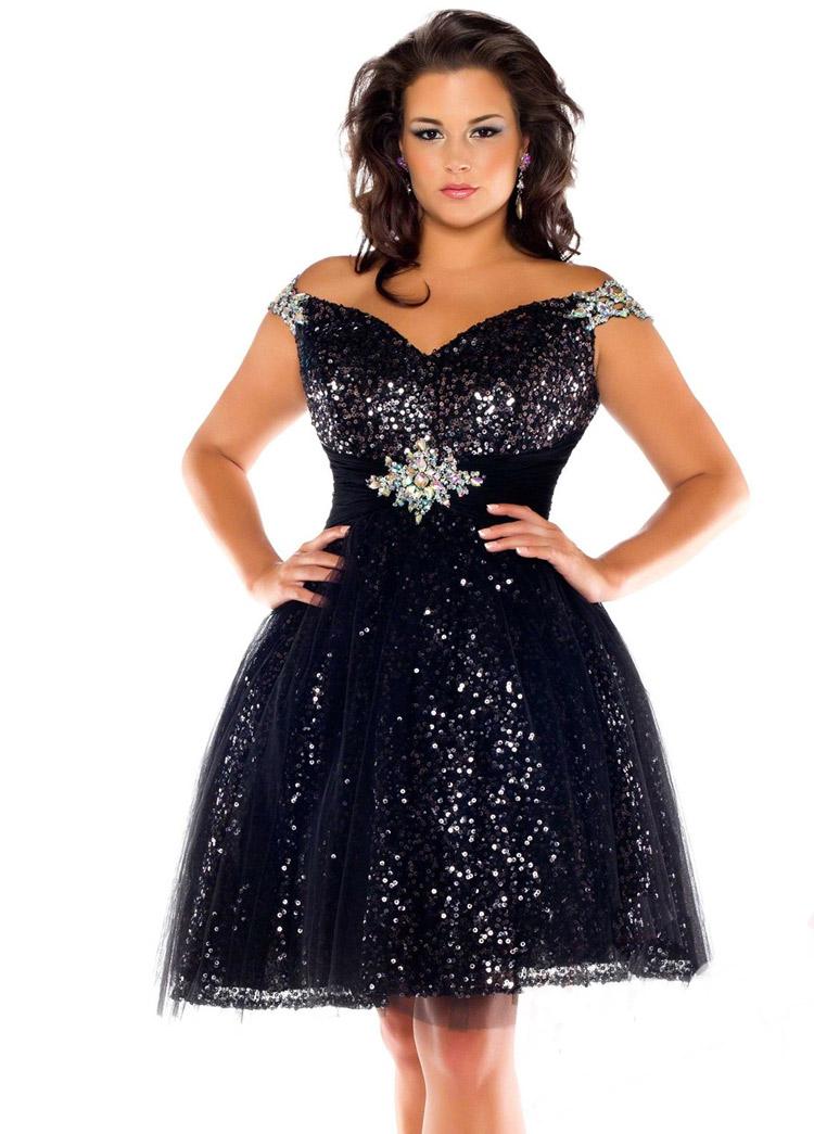 вечернее платье большого размера с блестками