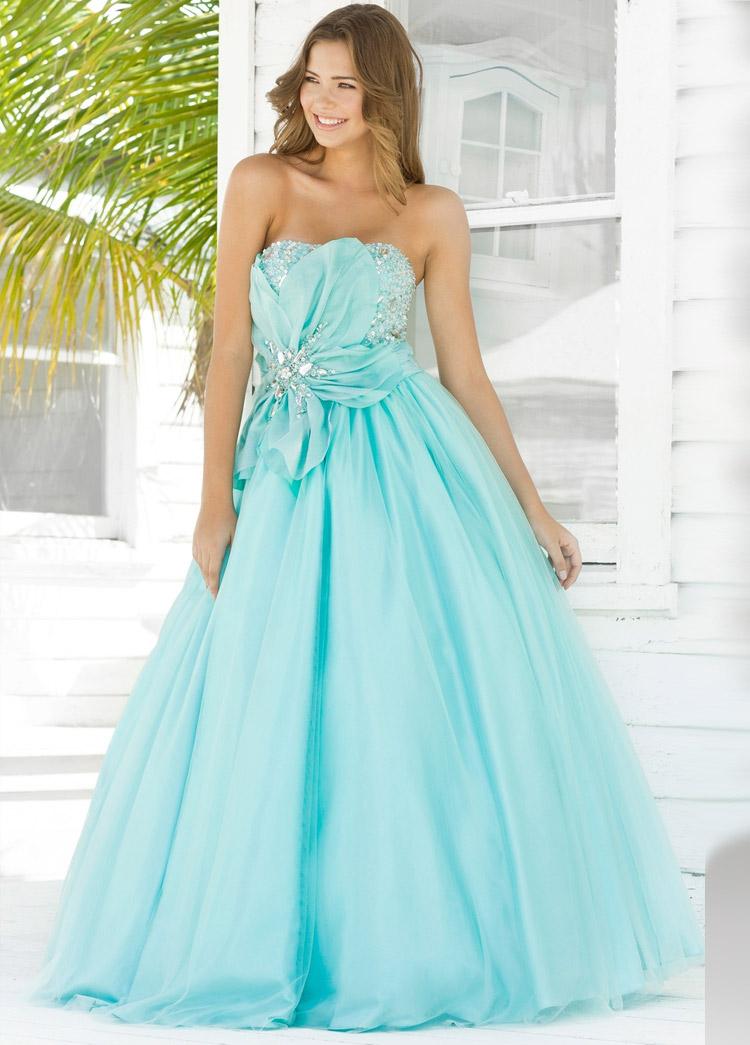 платье на выпускной небесного цвета