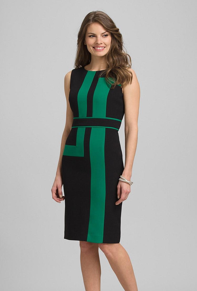 платье-футляр с полосками