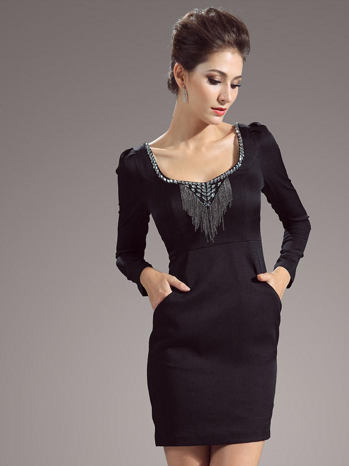 строгое короткое вечернее платье