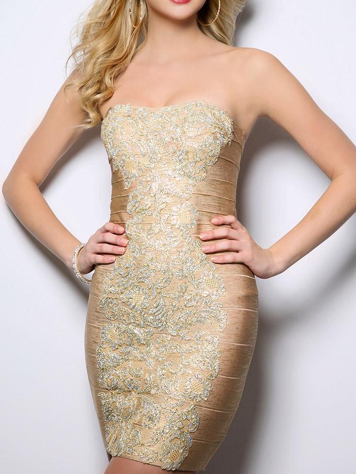 золотое открытое короткое вечернее платье