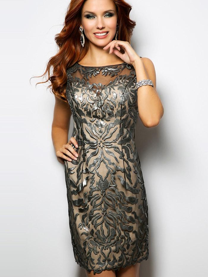 серое короткое вечернее платье