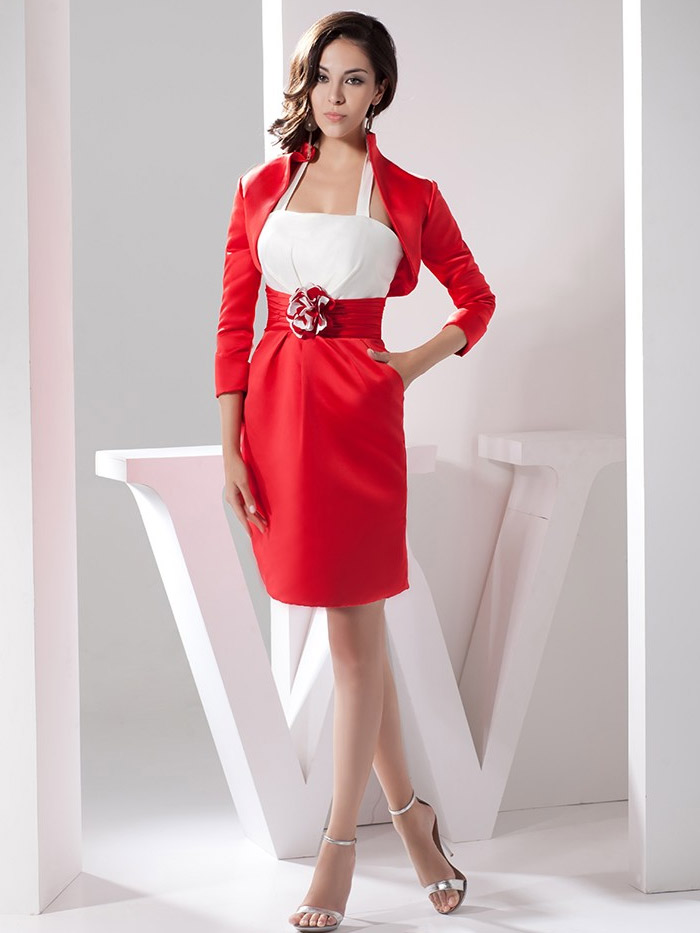 оригинальное короткое красное платье