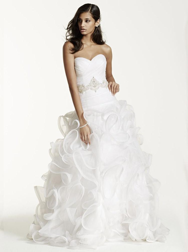 длинное пышное свадебное платье