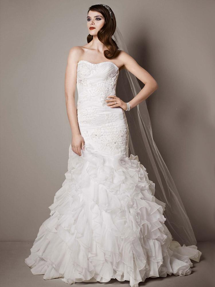 длинное свадебное платье с пышной юбкой