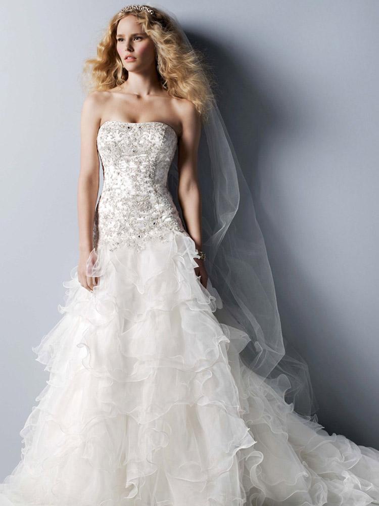 длинное и пышное свадебное платье