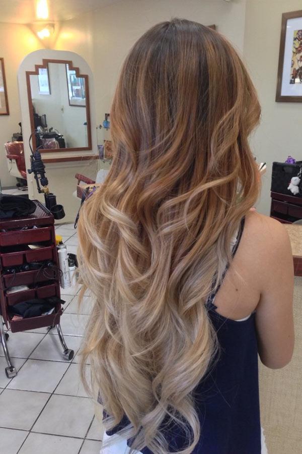 Балаяж на длинные светлые волосы