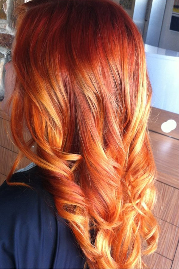 Окраска волос балаяж рыжий