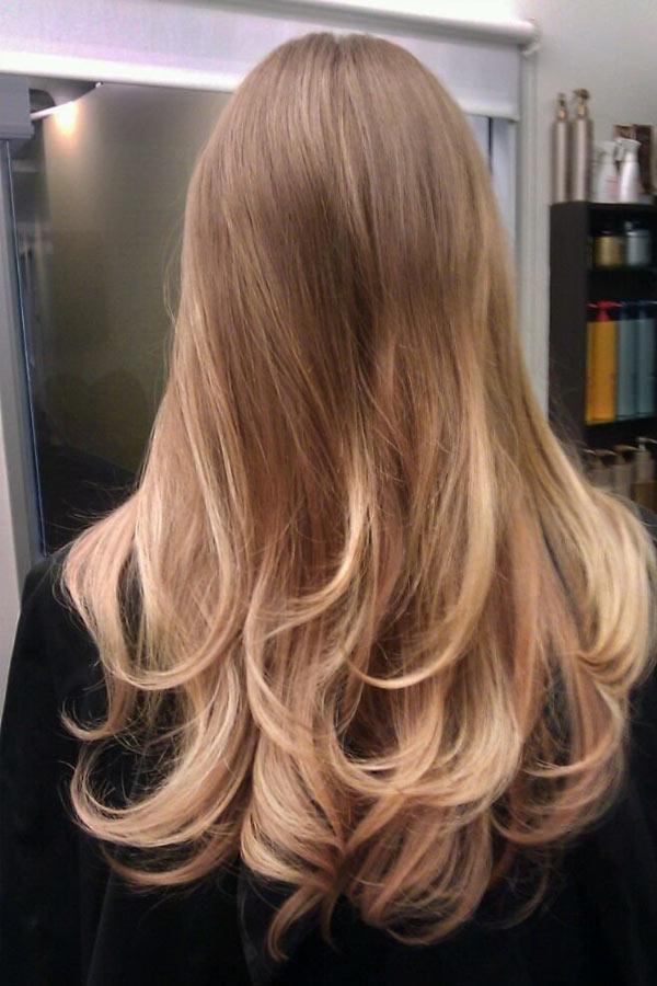 балаяж на русых волосах фото